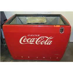 """Vintage Coca-Cola Ice Cold Chest Cooler w/ Bottle Opener (missing top cover)  42""""W x 28""""D x 34""""H"""