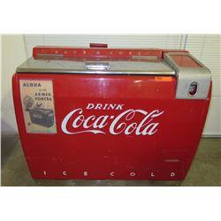 "Vintage Coca-Cola Chest Cooler w/ Bottle Opener & Aloha Armed Forces 42""W x 28""D x 35""H"