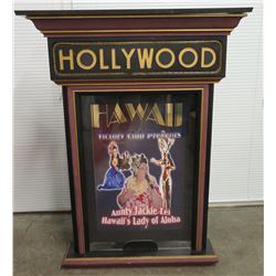 "Tall Hollywood Hawaii Victory Club Presents Aunty Jackie Lei Wooden Sign 54.5"" Tall, 41"" Wide (top),"