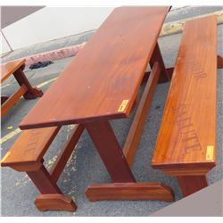 Solid Mahogany Picnic Table 6' L x 2' W & 2 Benches w/ Salute, Honor, Remember