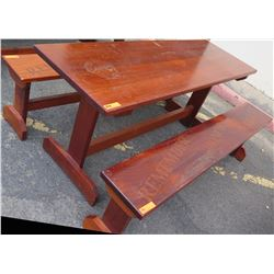 Solid Mahogany Picnic Table (6' L x 2' W) & 2 Benches w/ Salute, Honor, Remember