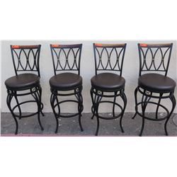 "Qty 4 Black Bar-Height Stools w/ Upholstered Seats 16.5"" Dia."