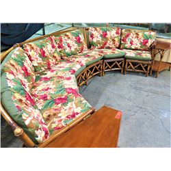 Modular Sectional Rattan Sofa Ensemble w/ Tropical Print Cushions  & End Tables