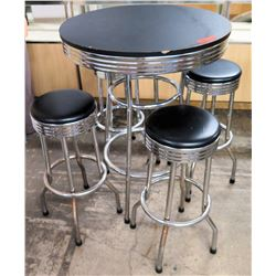"Round Black & Chrome Table (30.5""Dia) & 4 Upholstered Stools (12""Dia)"