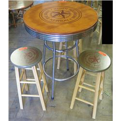"Round Wood ""Home of the Brave Beverage Company""  Bar-Height Table (30"" Dia) & 4 Stools (13"" Dia)"
