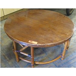 Round Wood & Rattan Low Coffee Table