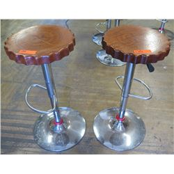 "Qty 2 Round Scalloped Wood Stools w/ Chrome Base & Foot Rest, Adjustable Ht, 15"" Dia"