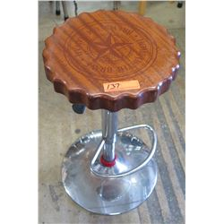 "Qty 1 Round Scalloped Wood Stools w/ Chrome Base & Foot Rest, Adjustable Ht, 15"" Dia"