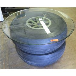 "Round Glass Table Top w/ 2 Corsair Airplane Tires 41"" Dia, 23"" H"