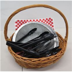 Basket w/ Round Strainers & Black Tongs
