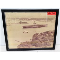 "Framed Pearl Harbor Image w/ Aircraft Carrier & Arizona Memorial 21"" x 18"""