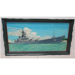 "Framed Battleship Print w/ Arizona Memorial 52"" x 29"""