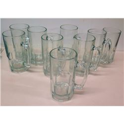 Qty 9 Large Glass Beer Steins