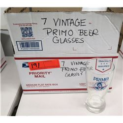 Qty 7 Vintage Primo Beer Glasses