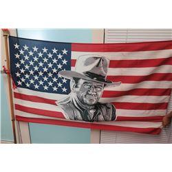U.S.A. Flag w/ John Wayne on Flagpole