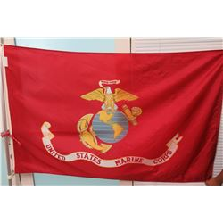 Red United States Marine Corps Flag on Flagpole
