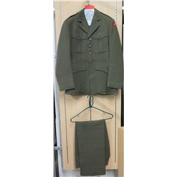 WWII Marine Corps Jacket, USMC Airwing 1 Patch, Green Pants (size unknown)