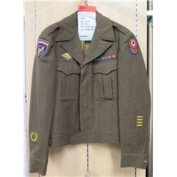 WWII Ike Jacket, ETO & ETO Command Patch, 2 Year Overseas Bar (size 36R)