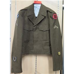 WWII Ike Jacket, 3rd Inf Div & 8th Army Patch, 18 Mo Overseas Bar (size 36L)