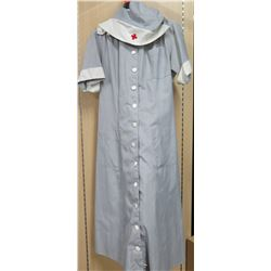 Long Gray Button Down Red Cross Nurse Uniform & Cap