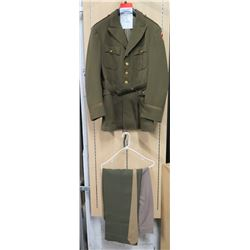 WWII Army Air Corps Jacket, Pink Pants, Green Pants & Khaki Tie (size unknown)