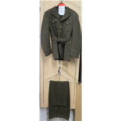 WWII Army Officer's Jacket, 6th Army Patch & Green Pants (size unknown)