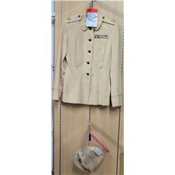 WWII White Army Nurse Uniform, Hat & Cap w/ Insignia (size unknown)