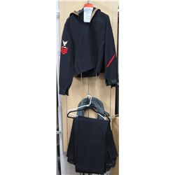 WWII US Navy Blues - 3 Jackets, 3 Pants, Mae West (size unknown)