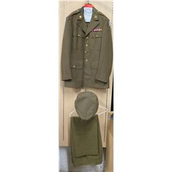 WWII Enlisted Army Jacket, Cap & Green Pants (size unknown)