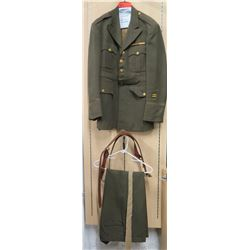 WWII Army Officer's Jacket, Sam Brown Belt, Khaki Tie & Pants (size unknown)