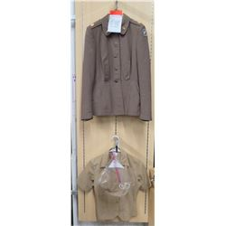 WWII Army Nurse's Jacket w/ 2nd Corps Patch & Insignia, Blouse & Cap