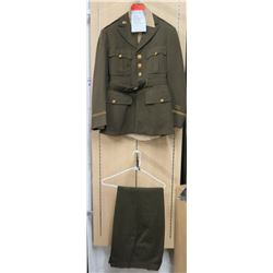 WWII Army Air Corps Jacket, Green Pants & Khaki Tie (size unknown)