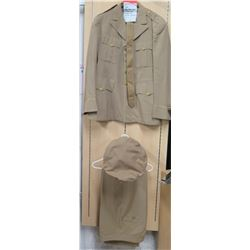 WWII Khaki Officer's Jacket, Pants & Hat (size unknown)