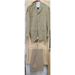 WWII Khaki Officer's Jacket, ETO & Army Service Patch & Pants (size unknown)