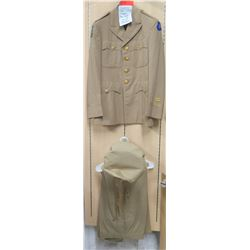 WWII Khaki Army Officer's Jacket, Persian Gulf Patch, Pants & Hat (size unknown)