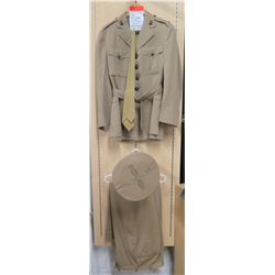 WWII Khaki Marine Corps Jacket & Insignia, 2 Pants, 1 Hat & 4 Hat Covers