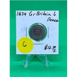 1834 GREAT BRITAIN 6 PENCE