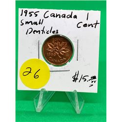 1955(SM DENTICLES) CANADA 1 CENT.MS++
