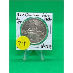 1947(BL 7/7) CANADA SILVER DOLLAR.NICE KEY DATE