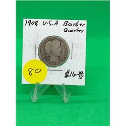 1908 U.S.A BARBER QUARTER