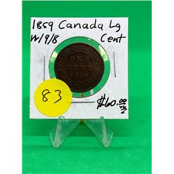 1859(W9/8) CANADA LARGE CENT.KEY DATE
