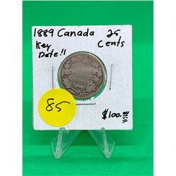 1889 CANADA 25 CENTS. KEY DATE..