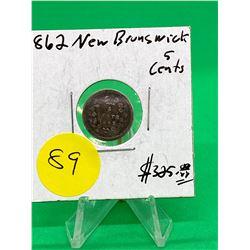 1862 NEW BRUNSWICK 5 CENTS.TOUGH DATE