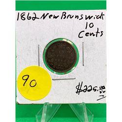 1862(2/2) NEW BRUNSWICK 10 CENTS.RARE VARIETY