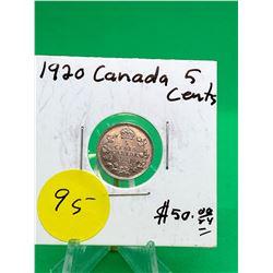 1920 CANADA 5 CENTS.NICE GRADE!