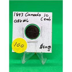 1893(FLAT TOP 3) CANADA 10 CENTS