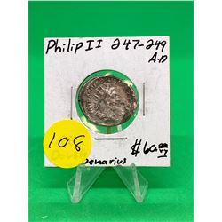 ANCIENT ROME.247-249 A.D PHILIP II AR DOUBLE DENARIUS