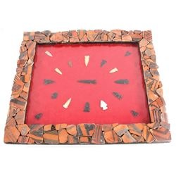 Acoma Pottery Framed Collection Obsidian Points