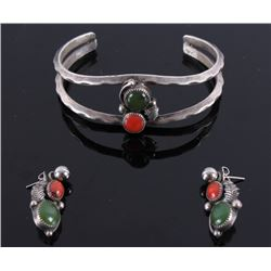 Navajo Silver Red Coral & Jade Earrings & Necklace