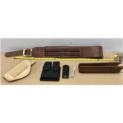 LEATHER AMMO BELT, CANVAS HOLSTERS & WOOD FORESTOCK